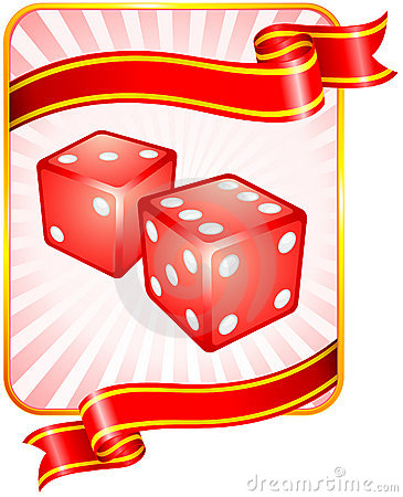 Dice with Ribbon Background
