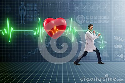 The cardiologist in telemedicine concept with heart beat