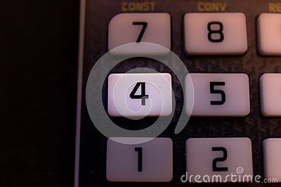 Key number four of the keyboard of a scientific calculator