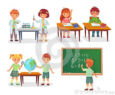 Kids on school lesson. Primary schools pupils on chemistry lessons, learn geography globe or sit at desk vector cartoon