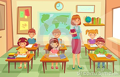 Pupils and teacher in classroom. School pedagogue teach lesson to pupil kids. Schools lessons at class cartoon vector