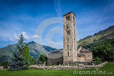 Belfry and church of Sant Climent de Taull, Catalonia, Spain. Romanesque style