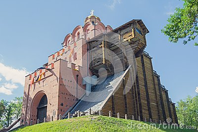 Golden Gate - ancient fortification building monument from times of Kievan Rus. Kiev
