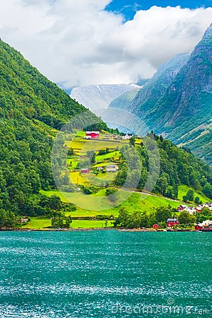 Norway village and fjord landscape
