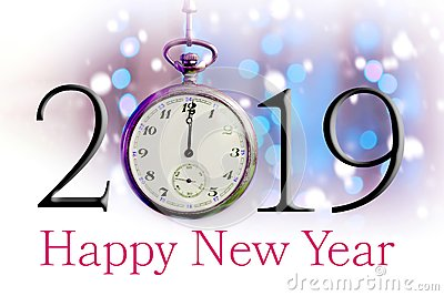 Happy New Year 2019. Text illustration and vintage pocket watch
