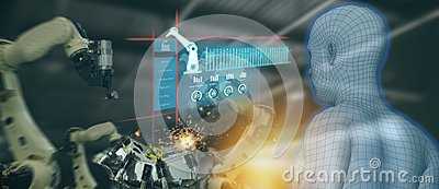 stock image of iot industry 4.0 concept,industrial engineer using artificial intelligence ai augmented, virtual reality to monitoring machine i
