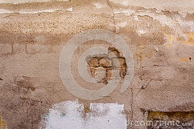 Crumbled off stucco white brick wall wallpaper background backdrop
