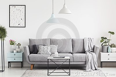 Luxurious living room interior with a grey couch, lamps, coffee