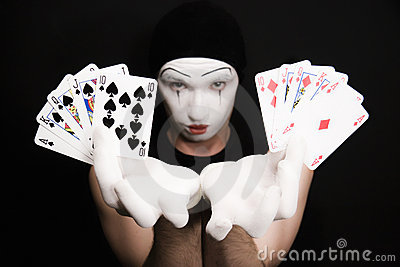 Mime with  royal flush on a black background