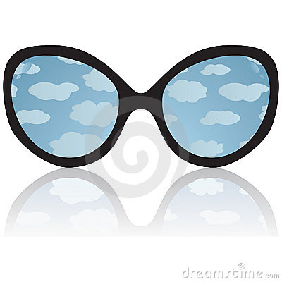 Sun glasses with reflexion of the sky and clouds