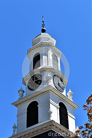 Old church steeple, located in Town of Peterborough, Hillsborough County, New Hampshire, United States