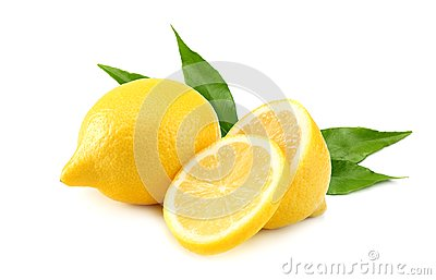 healthy food. lemon with slices and green leaf isolated on white background