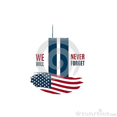 9/11 Patriot Day card with Twin Towers on american flag and phrase We will never forget.