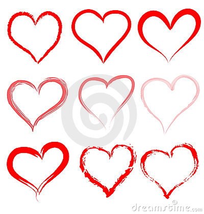 Heart love vector set Valentine day hearts Valentines icon design shape symbol hand drawn isolated romantic red background art