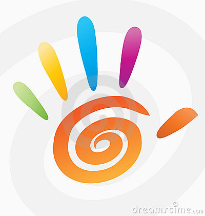 Palm high five 5 hand print vector spiral colored logo sign peace symbol icon graphic arts color abstract circle concept fingers