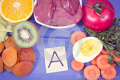 Nutritious eating containing vitamin A, healthy nutrition as source minerals and fiber