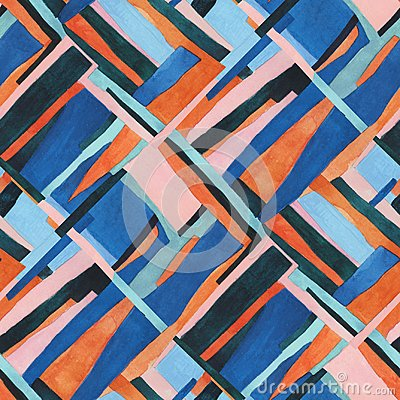 Abstract contemporary art seamless pattern. Watercolour collage geometric illustration