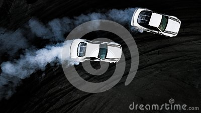 Aerial top view two cars drifting battle on race track, Two cars