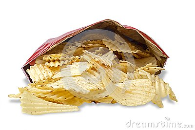 Bag Of Potato Chips On White