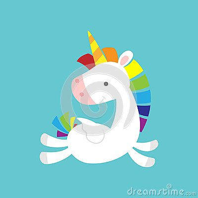 stock image of cute baby unicorn flying and looking back