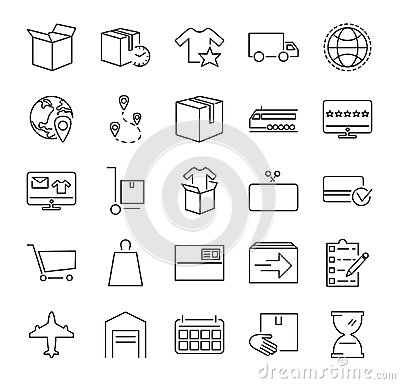 Order fulfillment vector illustration icon collection. Outlined pictorgrams about online shopping, delivery service and packaging.