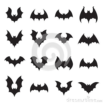 Vampire bat silhouette. Halloween bats decoration, hanging cave flittermouse and scary rearmouse animal vector