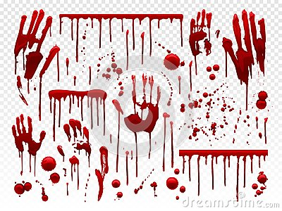 Blood drip. Red paint splash, halloween bloody splatter spots and bleeding hand traces. Dripping bloods horror texture