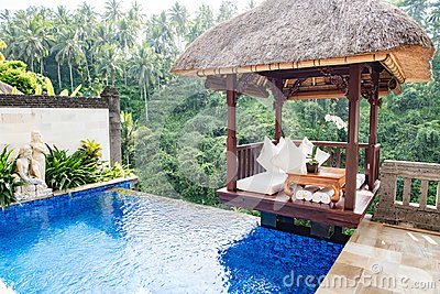 Private pool in balinese Resort with view to jungle Viceroy, Ubud, Bali, Hotel on the edge of rainforest in Ubud