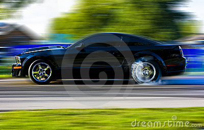 2009 Ford Mustang Race Car in Motion
