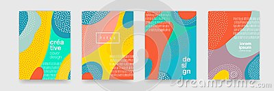 Abstract fun color pattern cartoon texture for doodle geometric background. Vector trend shape for brochure cover template design