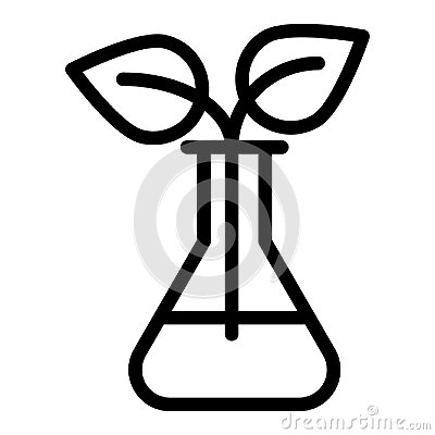 Sprout in lab flasks line icon. Lab flask with plant vector illustration isolated on white. Biotechnology outline style