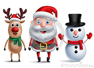 Santa claus vector character with snowman and rudolph the reindeer