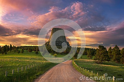 Scenic sunrise over Wyoming`s Devils Tower National monument