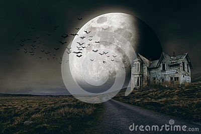 Halloween background with full moon and creepy house