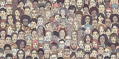 Seamless banner of diverse hand drawn faces
