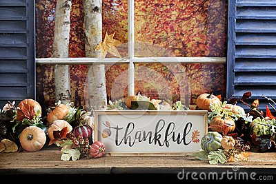 Thankful Sign on Old Wood Tabletop