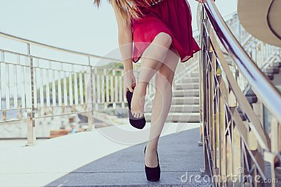 Too big small red short clothing undress luxury elegant concept. Close up photo of exhausted tired lady taking off putting o