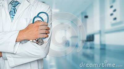 stock image of medicine and healthcare concept. doctor with stethoscope in clinic, close-up
