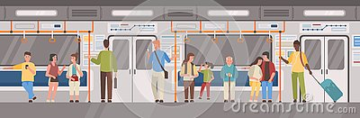 stock image of people or city dwellers in metro, subway, tube or underground train car. men and women in public transport. male and