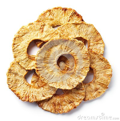 Heap of freeze dried pineapple slices