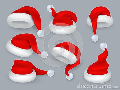 Santa hats. Christmas 3d santa claus hat, winter holiday red caps with fur. Vector realistic isolated set