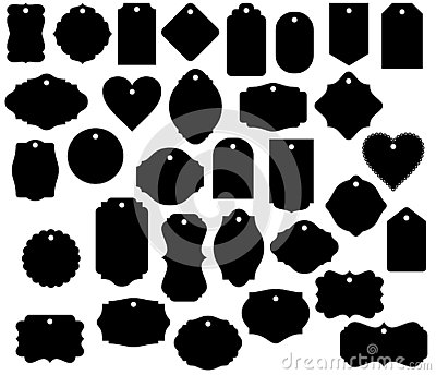 Gift Tag Shapes vector clip art isolated luggage tag decorative label