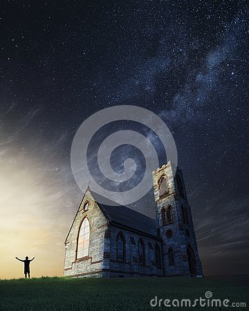 Old church in the countryside on a beautiful night