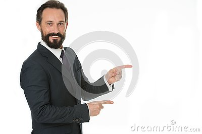 Pointing at copy space. Man pointing index fingers isolated on white. Man bearded mature in formal wear. Businessman or