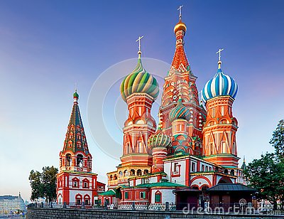 Moscow, Russia - Red square view of St. Basil`s Cathedral