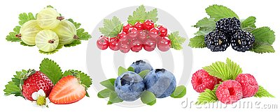 Collection of berries strawberries blueberries berry fruits fruit isolated on white