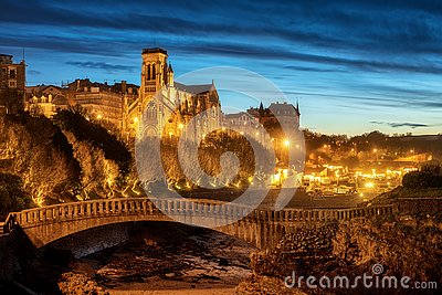 Biarritz, St Eugenia Church and Old Port at night, Basque country, France