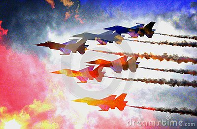 Colorful Cluster of Air Force Jets Flying in the Clouds - teamwork!