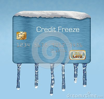 Snow and ice on a credit card illustrate the theme of putting a freeze on your credit report.