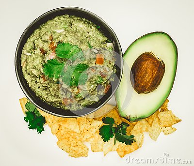 Guacamole Avocado with chips mexican food flat lay top view isol